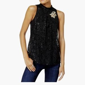 BCX Ladies Embellished Sequin Lace Tank Top Blouse